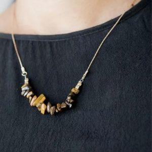 Paparazzi necklace gold and brown stone